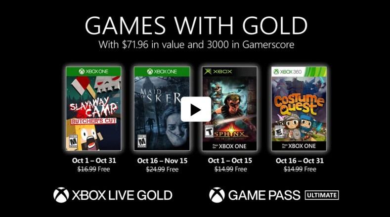 Xbox Games with Gold Oct 2020