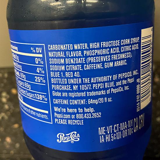 Pepsi Blue ingredients