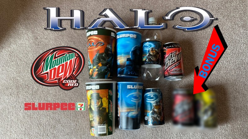 Halo Cups Cans Mnt Dew Slup banner