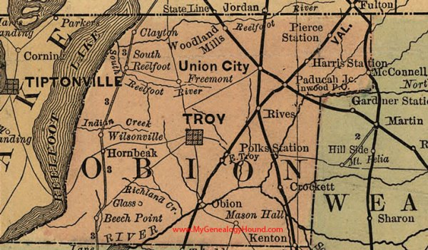 Geography of Obion County, Tennessee