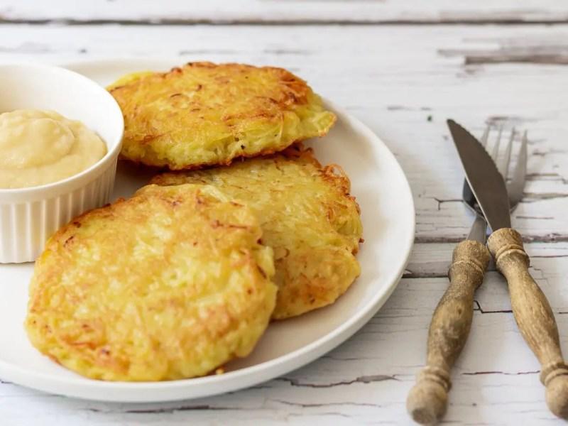 German potato pancakes with apple sauce