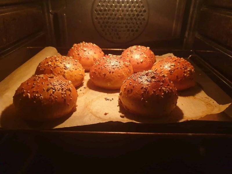 Golden brown bread rolls