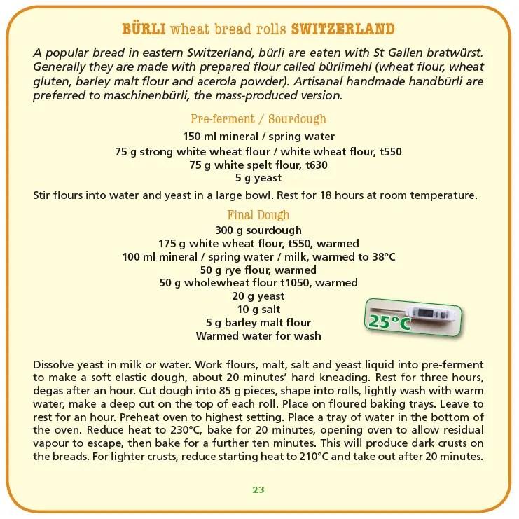 Original recipe for swiss sourdough bread rolls (Bürli)
