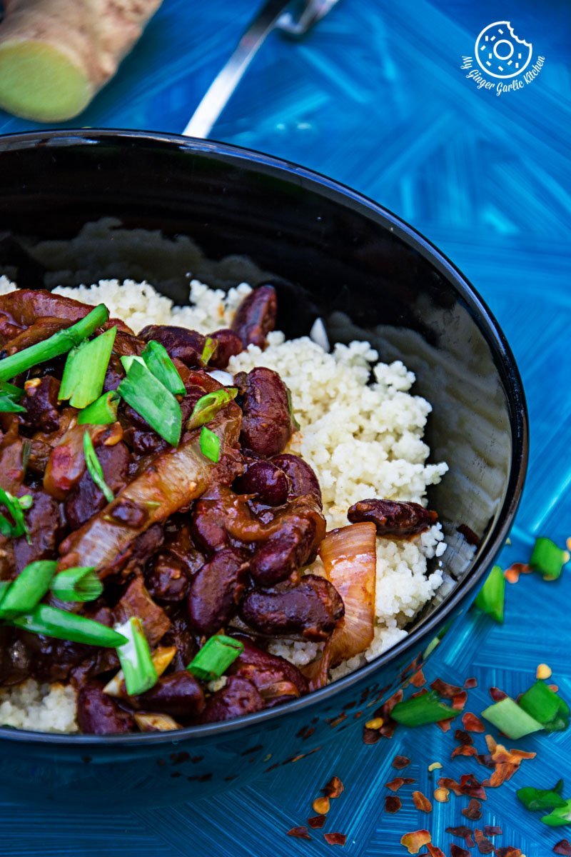 Couscous With Sauteed Mushroom Kidney Beans | mygingergarlickitchen.com/ @anupama_dreams