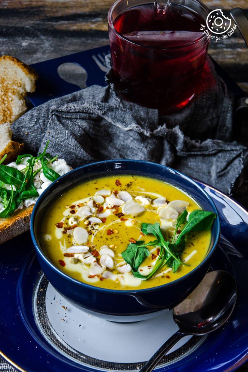Creamy Sweet Potato Carrot Soup | mygingergarlickitchen.com/ @anupama_dreams