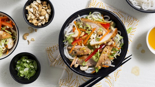 chicken and rice noodle salad with citrus sesame dressing