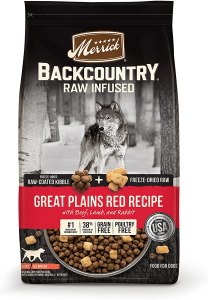 17 Best Dog Foods for Golden Retrievers & Puppies. Merrick Backcountry Grain-Free Raw Infused Great Plains Red Recipe.