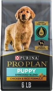17 Best Dog Foods for Golden Retrievers & Puppies. Purina Pro Plan Savor Shredded Puppy Blend with Probiotics.