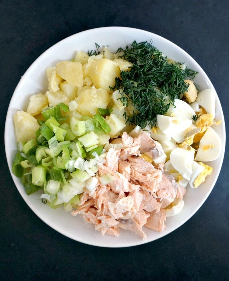 Deviled egg potato salad with salmon