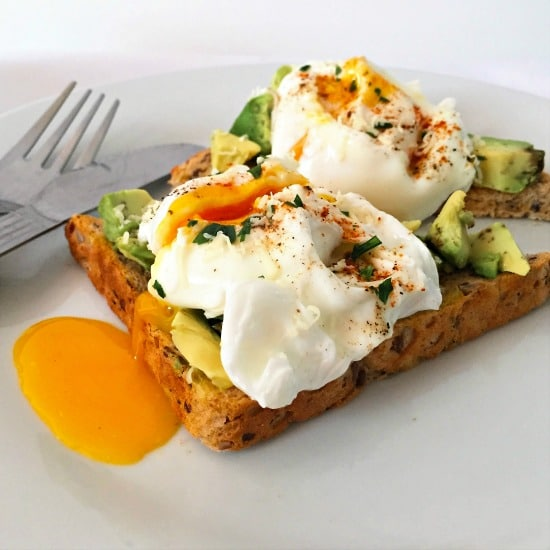 Poached egg avocado toast, delicious and healthy, with the poached egg runny and so scrummy.