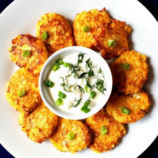Carrot apple and cheese fritters