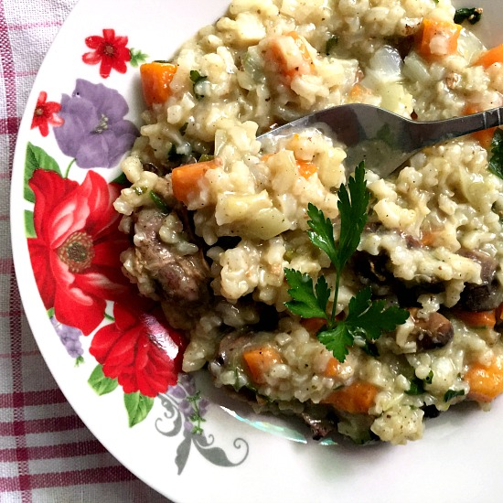 Romanian vegetable chicken liver rice pilaf