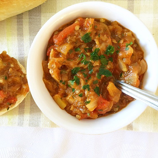 Roasted aubergine spread with tomatoes and peppers s