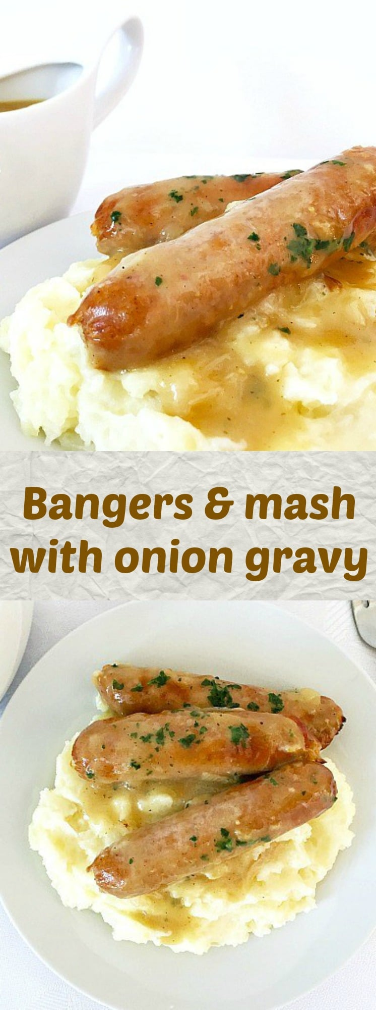 Bangers & mash recipe with onion gravy, s true British classic. Enjoyed throught the year, expecially on Bonfire Night, this recipe is sheer pleasure. That's what comfort food is all about.