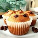 Homemade chocolate chip muffins with cherry jam filling