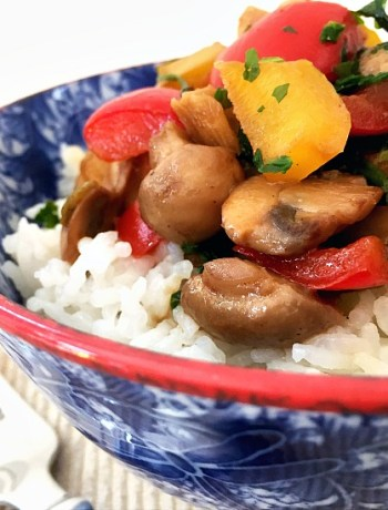 Mushroom pepper stir fry with rice
