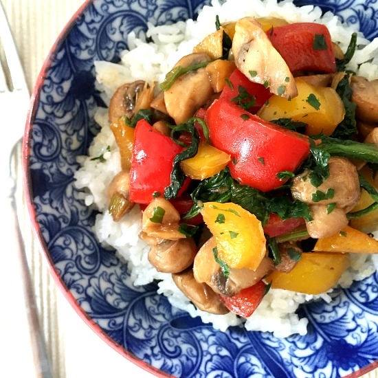 Mushroom pepper stir fry with rice