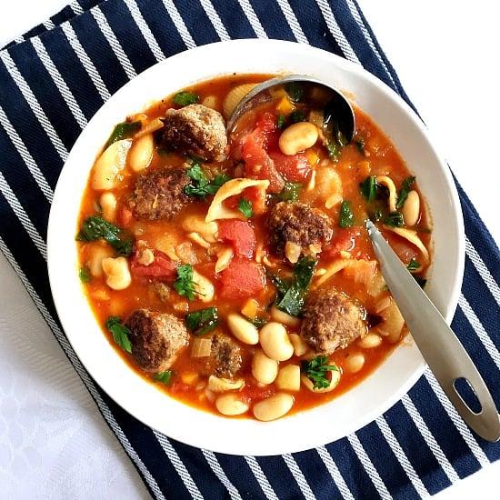 Hearty meatball minestrone soup