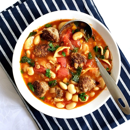 Hearty minestrone soup with meatballs
