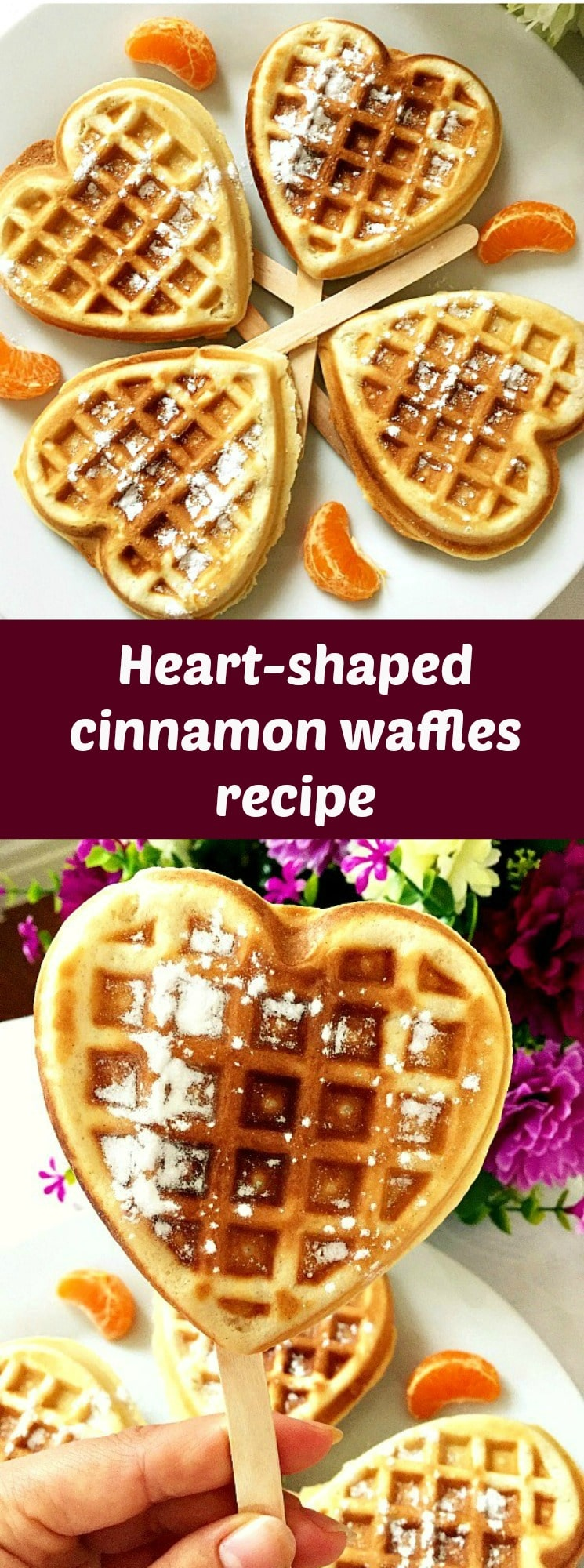 Heart-shaped cinnamon waffles recipe, a delicious treat for breakfast or brunch. Fluffy, cinammony, and super easy to make.