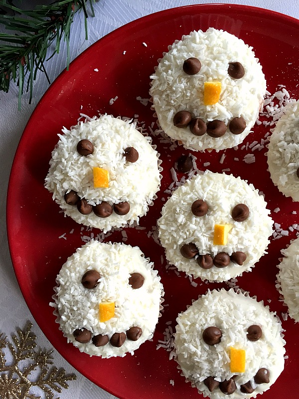 snowman cupcakes on a red plate