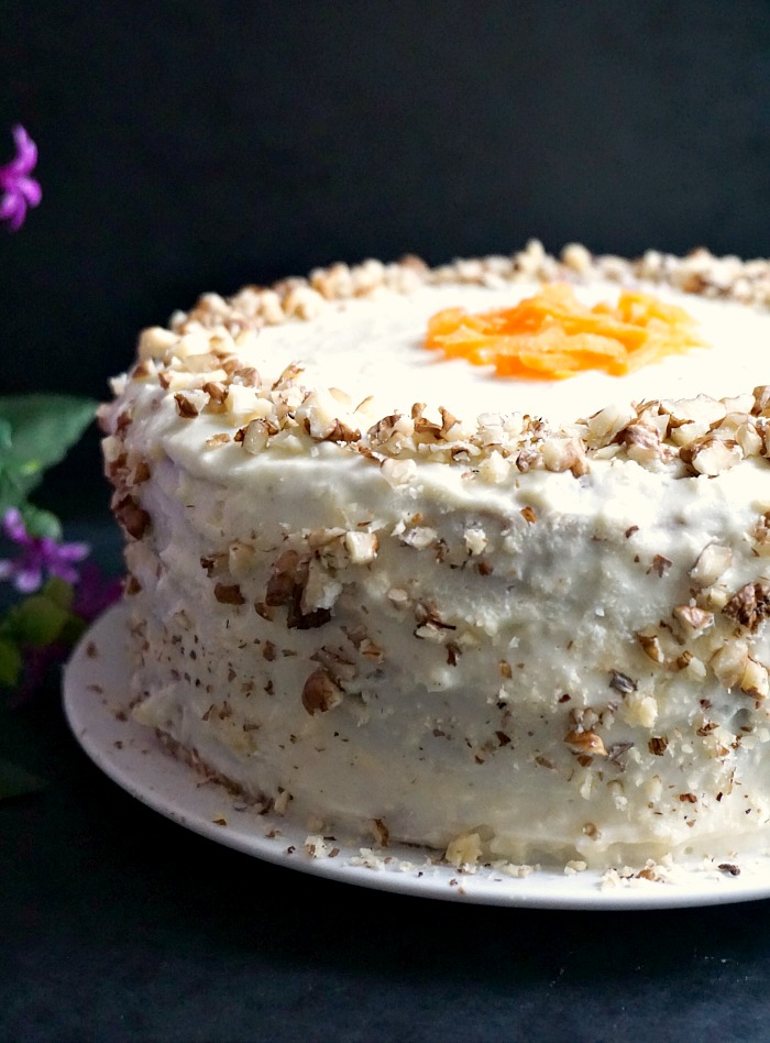 Super moist carrot cake recipe with walnuts and cream cheese icing
