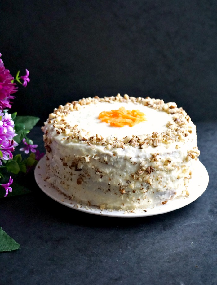 Super moist carrot cake with walnuts and cream cheese icing