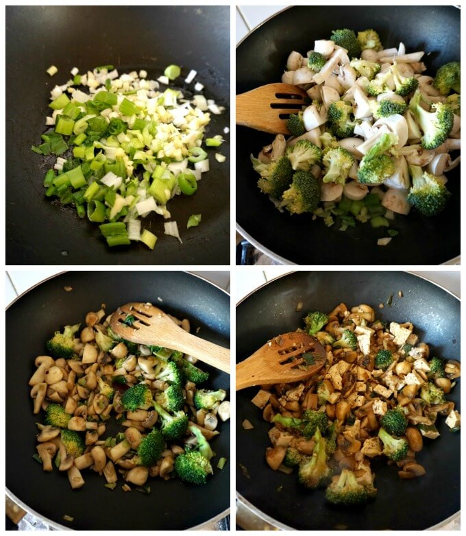 Collage of 4 photos to show step-by-step instructions how to make broccoli tofu stir fry