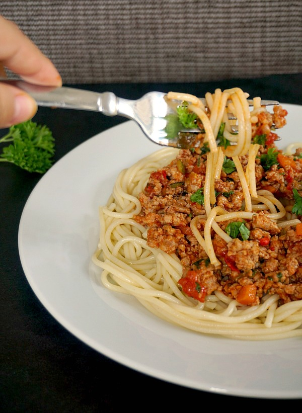 Clean-eating lean turkey spaghetti bolognese