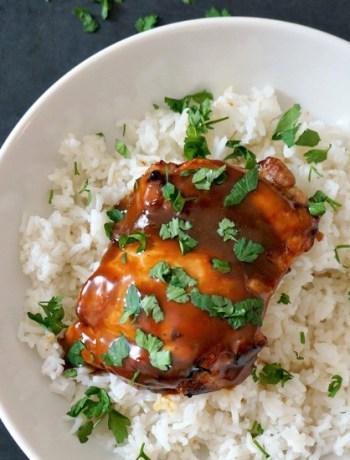 Filipino boneless skinless chicken thighs adobo with thick sauceFilipino boneless skinless chicken thighs adobo with thick sauce