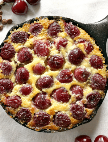 French Cherry Clafoutis recipe with chocolate chips