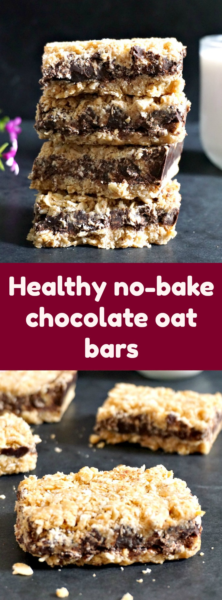 Healthy no-bake chocolate oat bars with peanut butter {V+GF}