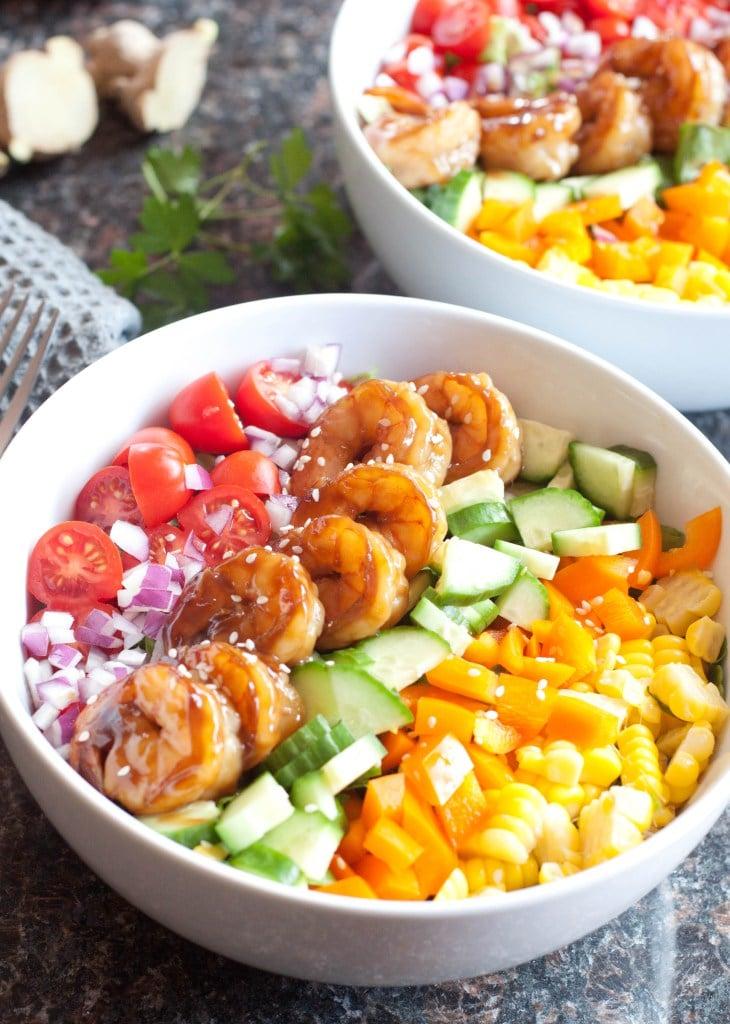 Teriyaki Shrimp Salad with Sesame Ginger Vinaigrette