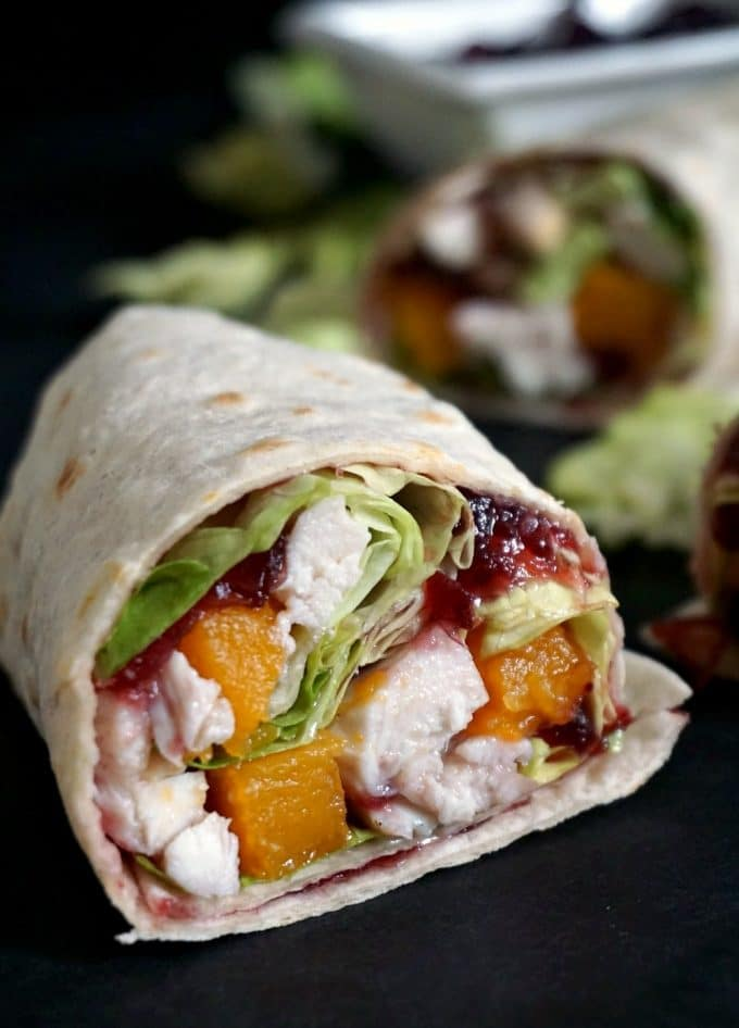A leftover turkey wrap with cranberry sauce