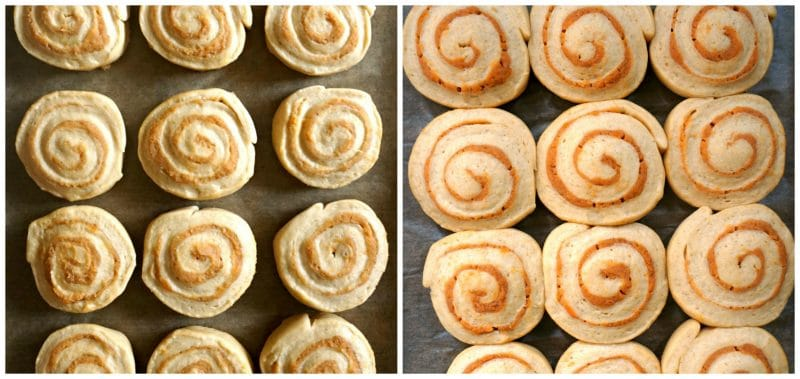 2 photos showing the before and after proving the pumpkin pie cinnamon rolls