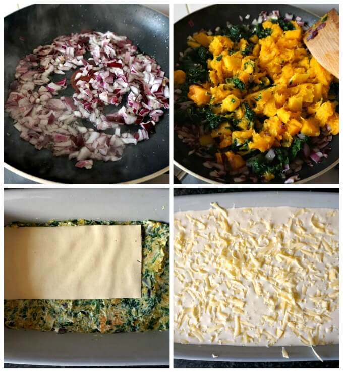 Collage of 4 photos to show step-but-step instructions how to make the butternut squash spinach lasagna