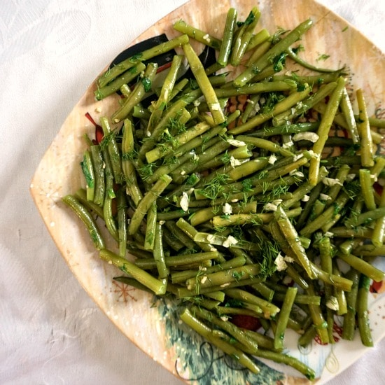 Overhead shot of a plate of sauteed garlicky green beans