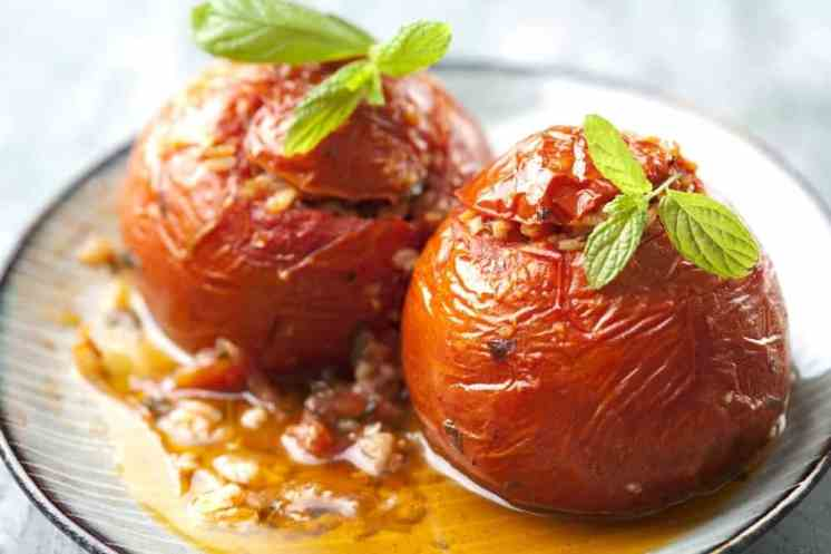 Gemista/ Yemista recipe (Greek Stuffed Tomatoes and peppers with rice)