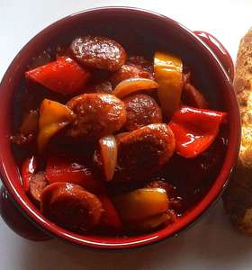 Traditional Spetsofai (Spetzofai) Recipe - Spicy Greek Sausages with Peppers and Tomato sauce