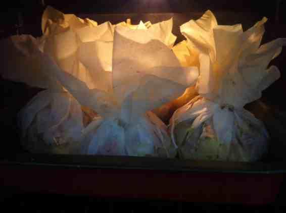 Pork Pouches with Potatoes, Peppers, Onions (Xoirino Kleftiko or Exohiko)