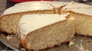 Vasilopita Cake piece (Greek New Year's cake)