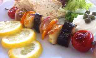 Vegetable Skewers (Souvlaki) with Halloumi and Pita Bread-4