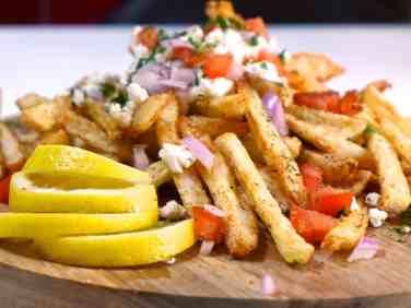 Homemade Baked Greek Fries recipe with feta cheese