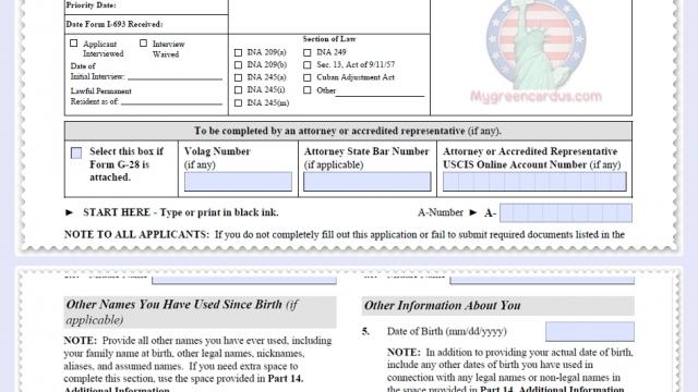 แบบฟอร์มปรับสถานะขอใบเขียวในอเมริกา  I-485  edition 06/26/17