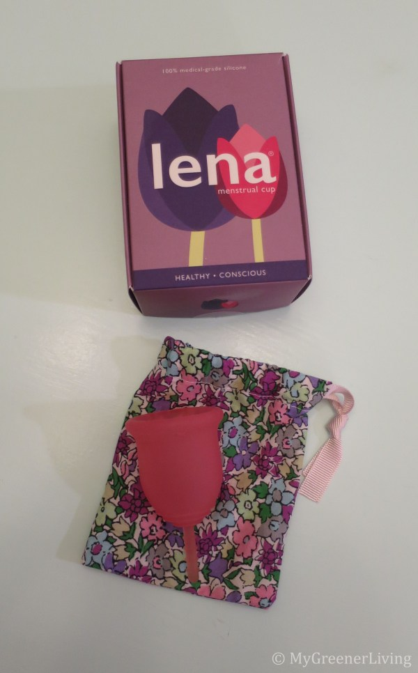 Lena Menstrual Cup packaging and product