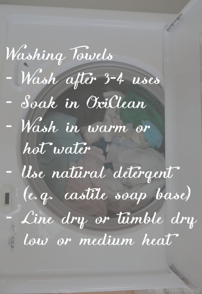 instructions for washing towels overlaid on photo of towels in washing machine