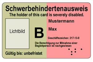 Schwerbehindertenausweis im Scheckkartenformat (Vorderseite) (Quelle: BMAS)