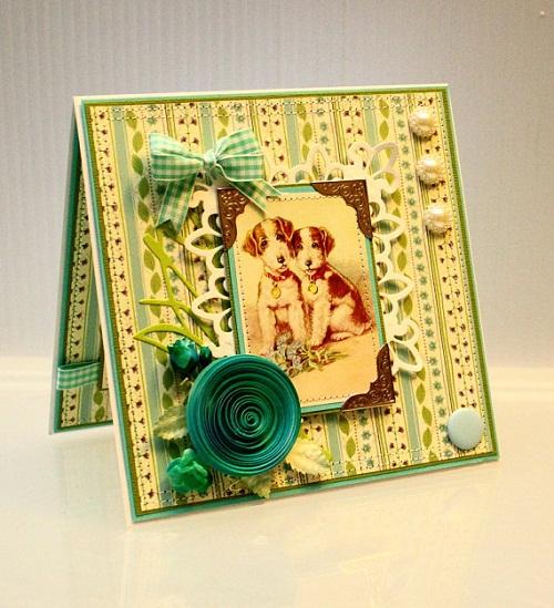 Dog and Ribbon Handmade Greeting Cards