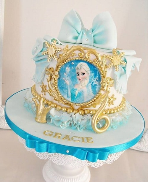 Gold and Blue Ribbon Elsa Frozen Birthday Cake