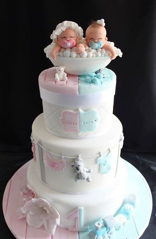 Cute Babies Christening Cakes for Twins